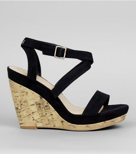 Black Multi Strap Wedge Sandals | New Look