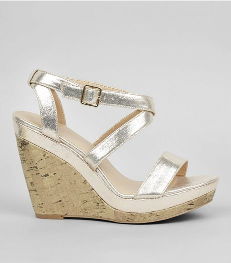 Gold Strappy Wedge Heels | New Look