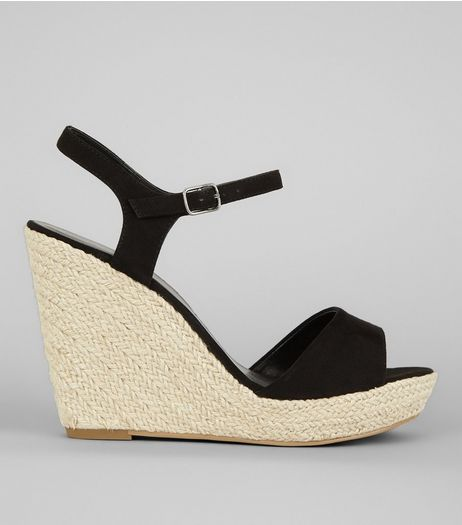 Black Wedged Espadrille Heeled Sandals | New Look