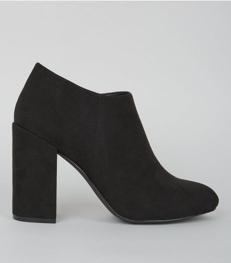 Black Suedette Block Heel Shoe Boots | New Look