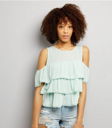Blue Vanilla Mint Green Frill Trim Tiered Top  | New Look