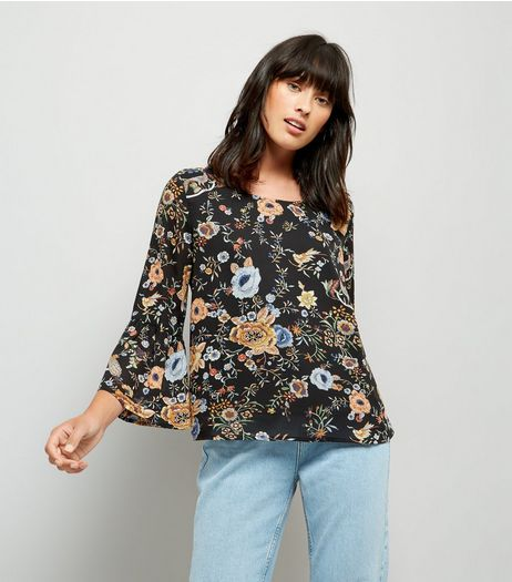 Blue Vanilla Black Floral Print Bell Sleeve Chiffon Top | New Look