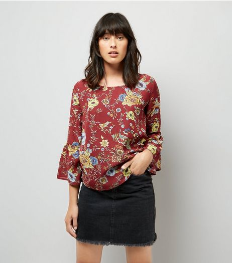 Blue Vanilla Red Floral Print Bell Sleeve Chiffon Top | New Look
