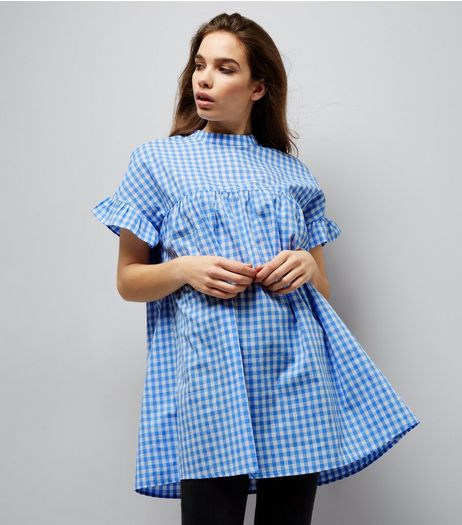 Blue Vanilla Blue Gingham Frill Sleeve Tunic  | New Look