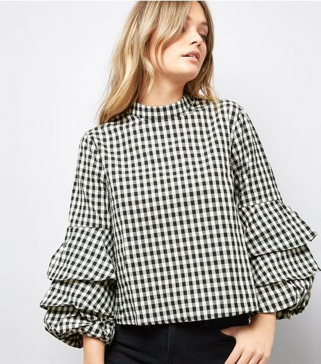 Blue Vanilla Gingham Tiered Frill Sleeve Top | New Look
