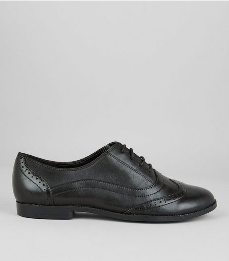 Teens Black Leather School Brogues  | New Look