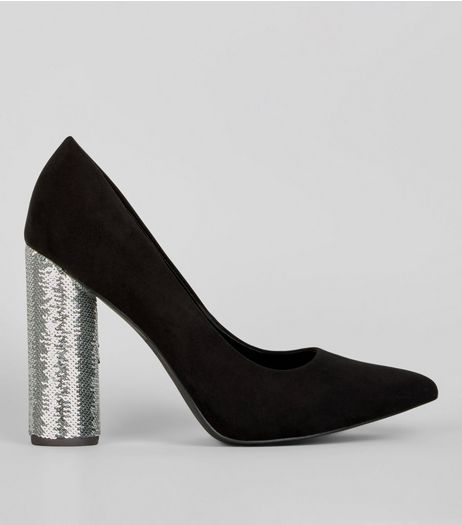 Wide Fit Black Suedette Sequin Block Heels | New Look