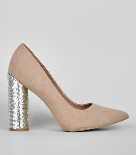 Wide Fit Suedette Brown Sequin Block Heels | New Look