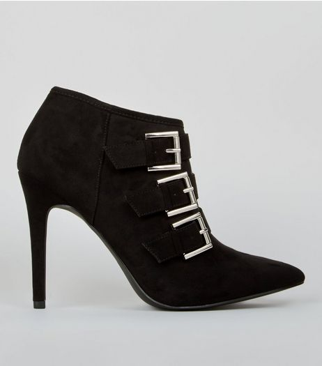 Wide Fit Black Suedette Multi Buckle Pointed Shoe Boots | New Look