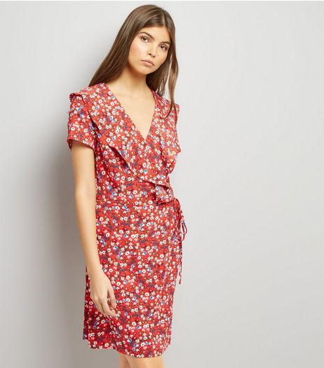 Red Floral Print V Neck Frill Trim Wrap Front Dress  | New Look