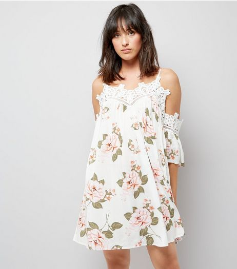 White Floral Print Lace Trim Cold Shoulder Swing Dress | New Look