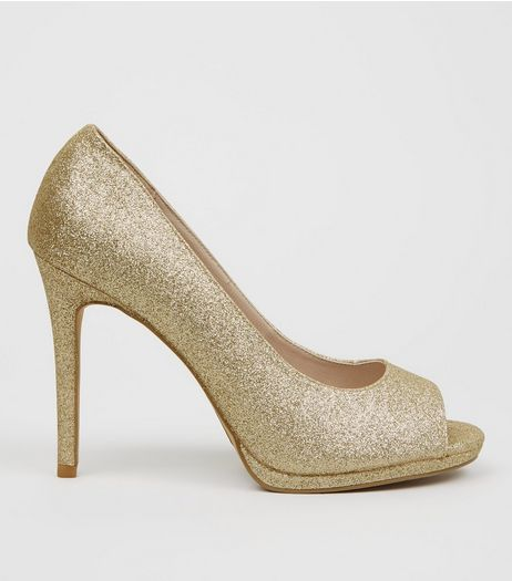 Wide Fit Gold Glitter Peep Toe Heels  | New Look