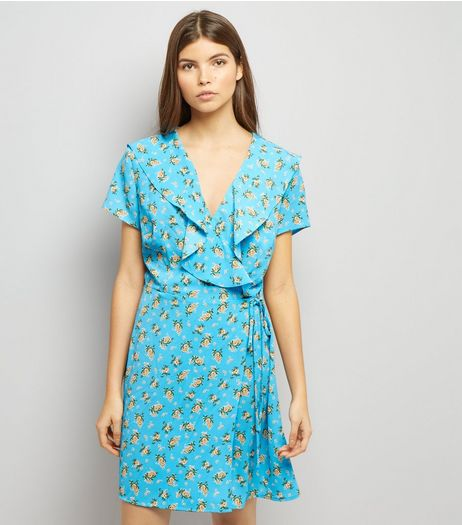 Blue Floral Print V Neck Frill Trim Wap Front Dress | New Look