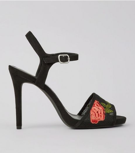 Wide Fit Black Rose Embroidered Heeled Sandals | New Look