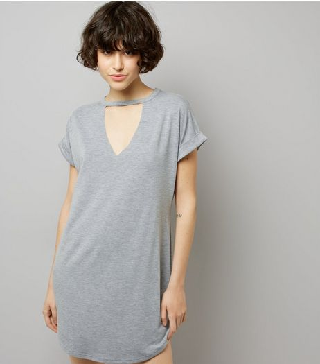Mid Grey Choker Neck T-Shirt Dress | New Look