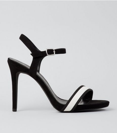 Wide Fit Black Stripe Panel Heeled Sandals | New Look