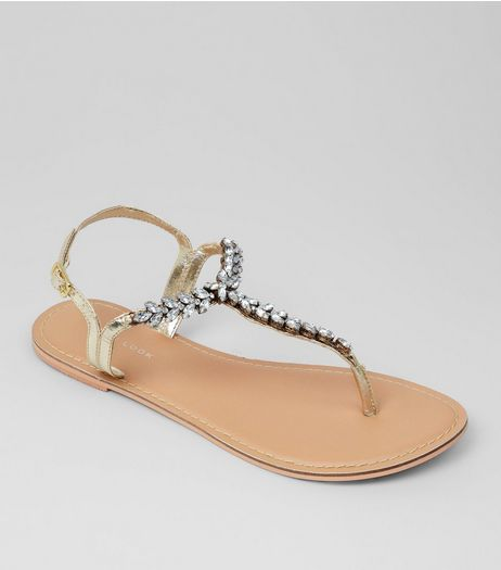 Gold Diamante Embellished Sandals  | New Look