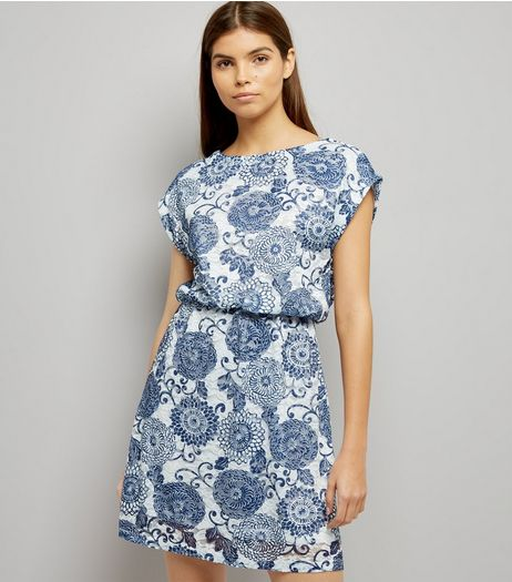 Mela White Abstract Print Dress | New Look