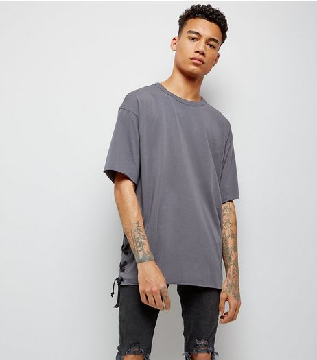 Dark Grey Lace Up Side T-Shirt | New Look