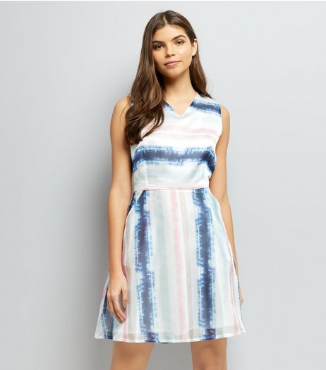 Mela White Stripe Sleeveless Dress | New Look