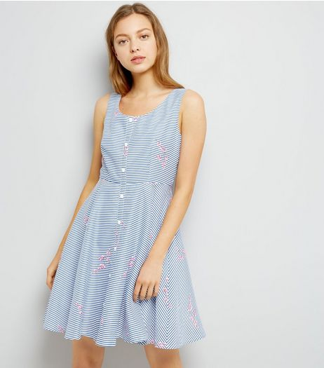 Mela Navy Stripe Floral Trim Button Front Dress | New Look