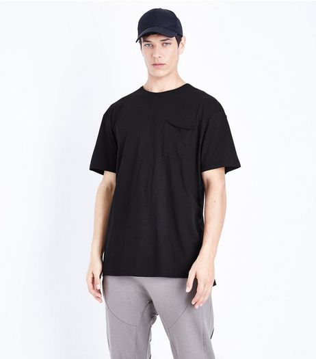 Black Pocket Front Boxy T-Shirt | New Look