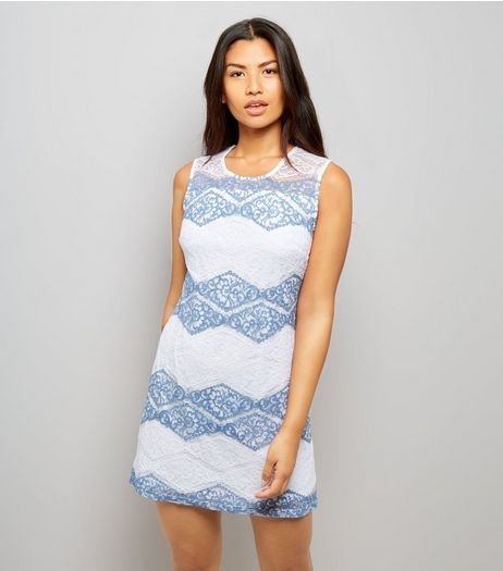 Mela White Zig Zag Stripe Lace Dress | New Look