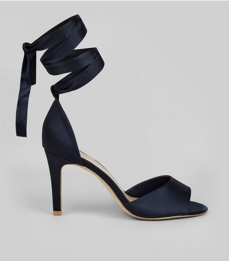 Wide Fit Navy Satin Ankle Tie Heels  | New Look