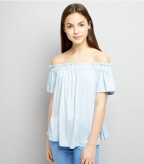 Teens Pale Blue Bardot Neck Top | New Look