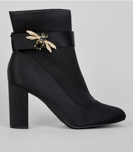 Wide Fit Black Satin Bee Embellished Boots  | New Look