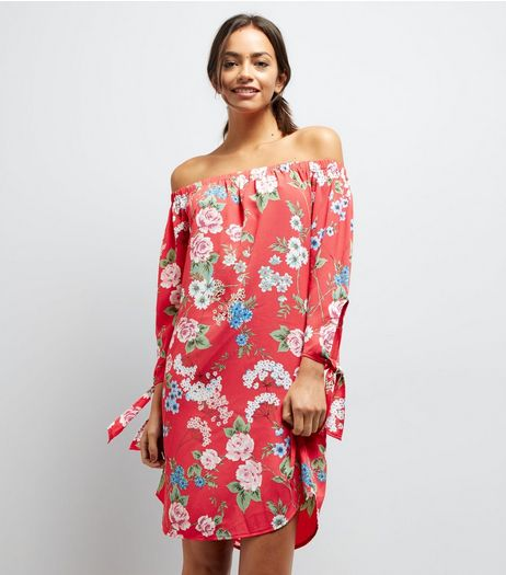 Red Floral Print Tie Sleeve Bardot Neck Dress | New Look