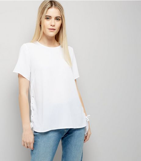 White Lace Up Side T-Shirt  | New Look
