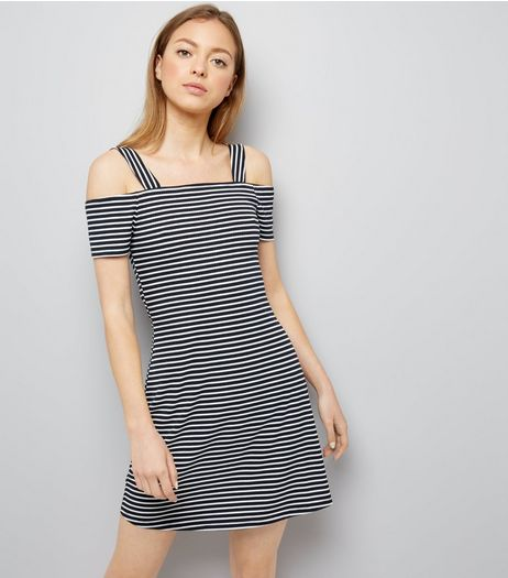 Navy Stripe Bardot Neck Bodycon Dress | New Look