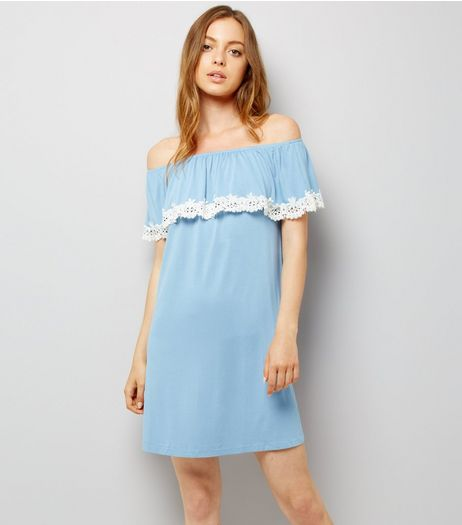 Blue Jersey Floral Crochet Trim Bardot Neck Dress | New Look