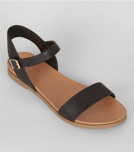 Wide Fit Black Open Toe Sandals | New Look