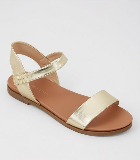 Wide Fit Gold Metallic Sandals | New Look