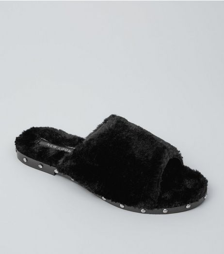 Black Faux Fur Stud Mules | New Look