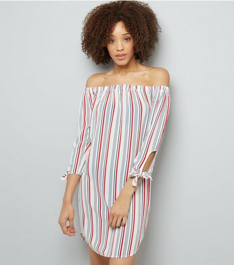 White Stripe Tie Sleeve Bardot Neck Dress | New Look