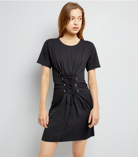 Black Corset Lace Up T-Shirt Dress  | New Look