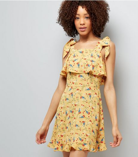 Yellow Floral Print Tie Shoulder Sun Dress  | New Look
