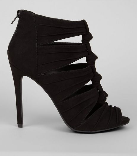 Black Suedette Knot Front Heeled Sandals  | New Look