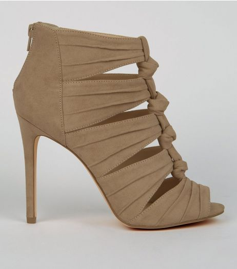 Brown Suedette Knotted Heels | New Look