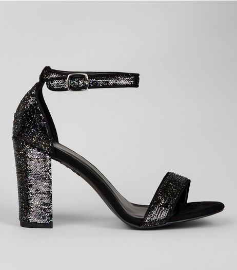 Black Sequin Heeled Sandals | New Look