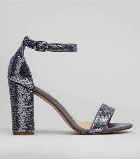 Pewter Sequin Heeled Sandals | New Look