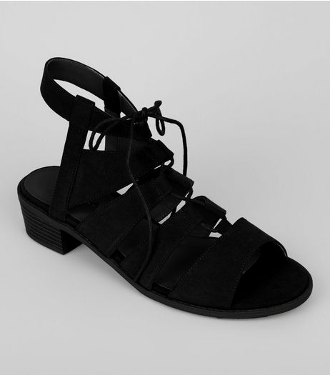 Black Suedette Tie Up Ghillie Sandals | New Look