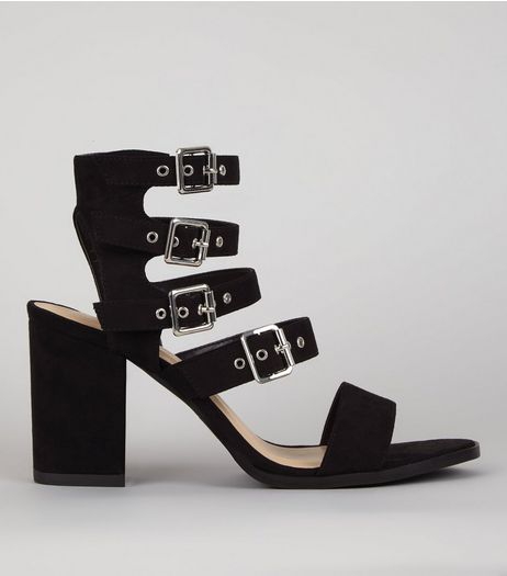 Black Suedette Buckle Strap Sandals  | New Look