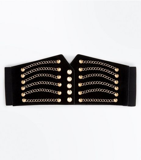 Black and Gold Chain Detail Corset Belt | New Look