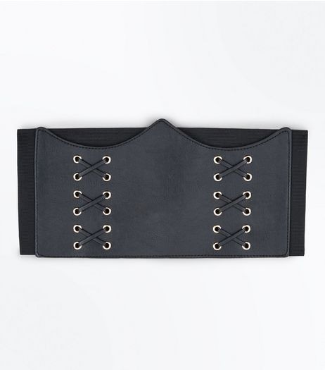 Black Curved Top Corset Belt | New Look