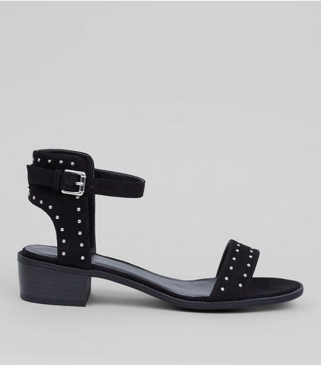Black Suedette Stud Detail Sandals | New Look