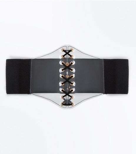 Black Clear Panel Corset Belt | New Look